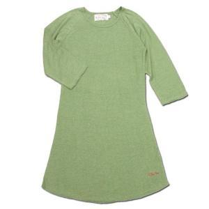 A HOPE HEMP (アホープヘンプ) RAGLAN 3/4 WOMEN'S ONE PIECE ヘンプコットン ラグラン 7分袖 Tワンピース / LT GREEN|greenplanet