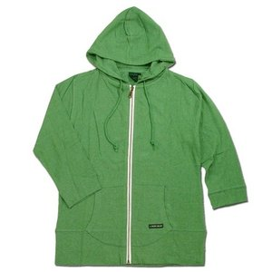 A HOPE HEMP (アホープヘンプ) 3/4 SLEEVE ZIP HOODED PARKA ヘンプコットン 7分袖 ジップアップパーカー / GREEN|greenplanet