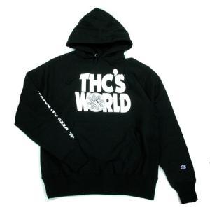 Tokyo Hemp Connection (トウキョウヘンプコネクション)  THC WORLD HOODY CHAMPION グラフィック プルオーバー パーカー / BLACK|greenplanet