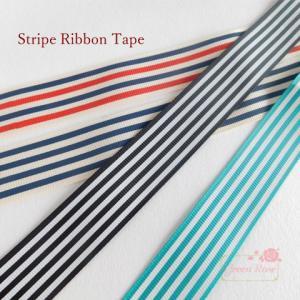 【ゆうパケット可】ストライプグログランリボン 片面 3色 25mm幅1m リボン/テープ/ロゼット/ヘアアクセ/服飾 1607/GRibbon02|greenrosenetshopyumi
