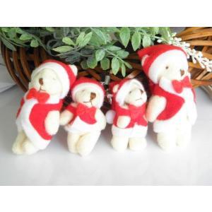 【メール便可】【クリスマス用★】真っ赤なコスチュームがかわいい♪リボンネクタイ付ストラップ用サンタクマちゃん【大】♪1個 greenrosenetshopyumi