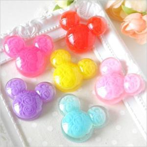 【卸売り】大人気ねずみデコパーツ バラ模様 6色30個 デコパーツ マウス 動物 アニマル YM1-1642|greenrosenetshopyumi