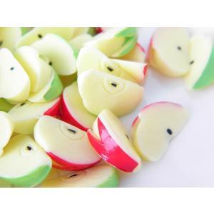 【卸売り】デコパーツ リンゴ うさぎカット スイーツデコ 約15ミリ 2色60個 YM1-2231 greenrosenetshopyumi