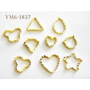 【メール便可】【ネイルアート】ジェルネイル用メタルフレーム♪レジンやジェルを使ってオリジナルのアイテムが作れるパーツ♪約100個【YM6-1837】|greenrosenetshopyumi