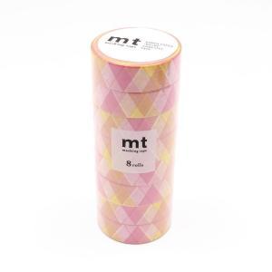 mt マスキングテープ 8P 三角とダイヤ・ピンク MT08D335 代引き不可・同梱不可