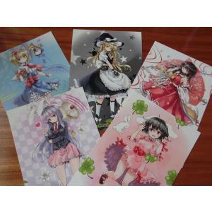 東方project「アリス・霧雨・霊夢・イナバ・てゐ」ポストカード5枚セット -ぱいそんきっど-|grep