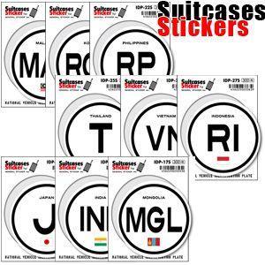 [送料299円〜]Suitcases Sticker(スーツケースステッカー) 国際識別記号ステッカー アジア IDP 100点迄メール便OK(ze0a007)|griptone