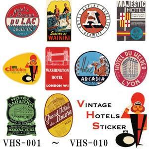 [送料299円〜]VINTAGE HOTELS STICKER ヴィンテージホテルステッカー VHS-001-010 100点迄メール便OK(ze0a032)|griptone