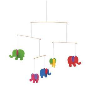 ドイツ製 木のおもちゃ セレクタ社 Selecta 知育玩具 モビール・ぞう 40cm カラフルな5頭のゾウ ゆれるおもちゃ|grooveplan