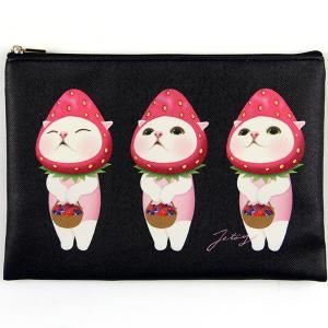 jetoy ジェトイ choochoo本舗 猫雑貨 チューチュー本舗 猫のミニクラッチ3 バッグ いちご ねこ かわいい|grooveplan
