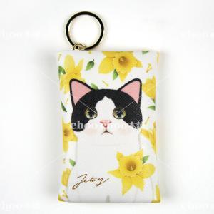 jetoy ジェトイ choochoo本舗 猫雑貨 チューチュー本舗 猫のカードケースチャーム2 白黒イエローフラワー かわいい ねこ 黄色 花|grooveplan