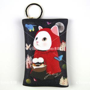 jetoy ジェトイ choochoo本舗 猫雑貨 チューチュー本舗 猫のカードケースチャーム2 赤ずきん かわいい 白ねこ 童話 メルヘン|grooveplan