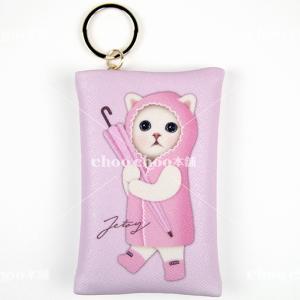 jetoy ジェトイ choochoo本舗 猫雑貨 チューチュー本舗 猫のカードケースチャーム2 雨ふり かわいい 白ねこ ピンク|grooveplan