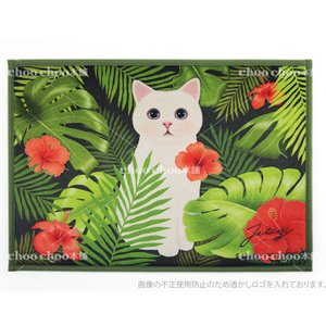 jetoy ジェトイ choochoo本舗 チューチュー本舗 猫雑貨 猫の玄関マット トロピカルネコ  バスマット グリーン インテリアマット|grooveplan