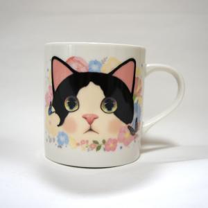jetoy ジェトイ choochoo本舗 猫雑貨 猫のストレートマグカップ 白黒 ハチワレねこ かわいい 陶器 日本製|grooveplan