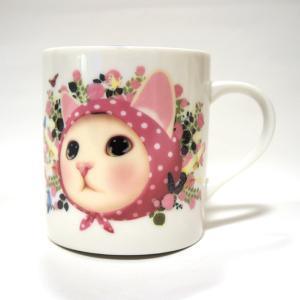 jetoy ジェトイ choochoo本舗 猫雑貨 猫のストレートマグカップ ピンクずきん ねこ 花 かわいい 陶器 日本製|grooveplan