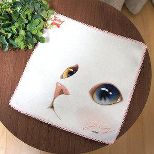 jetoy ジェトイ choochoo本舗 猫雑貨 猫のタオルハンカチ 白 オッドアイ ねこ かわいい|grooveplan