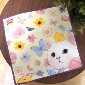 jetoy ジェトイ choochoo本舗 猫雑貨 猫のタオルハンカチ フラワー オッドアイ 白ねこ 黄色 イエロー かわいい|grooveplan
