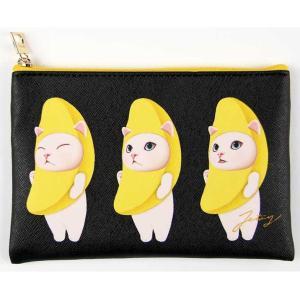 jetoy ジェトイ choochoo本舗 猫雑貨 猫のスリムポーチ バナナ柄 白ネコの化粧ポーチ ねこ|grooveplan