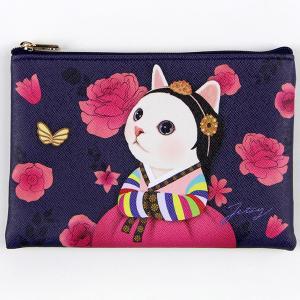 jetoy ジェトイ choochoo本舗 猫雑貨 猫のスリムポーチ3 ウォリ コスメポーチ ねこ 花 かわいい 韓服|grooveplan