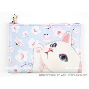 jetoy ジェトイ choochoo本舗 猫雑貨 猫のスリムポーチ3 ブロッサム コスメポーチ 白ねこ 花 かわいい|grooveplan