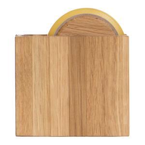 テープカッター オーク セロハンテープカッター しかく 木製 ラトレ latree DEN 天然木 シンプル おしゃれ インテリア|grooveplan