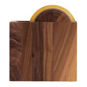 テープカッター ウォルナット セロハンテープカッター しかく 木製 ラトレ latree DEN 天然木 シンプル おしゃれ インテリア|grooveplan