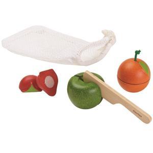 木のおもちゃ プラントイ PLANTOYS フルーツセット おままごと 包丁 収納袋付き|grooveplan
