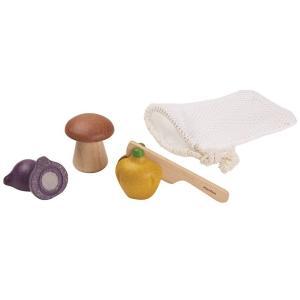 木のおもちゃ プラントイ PLANTOYS ベジーセット 野菜 おままごと 包丁 収納袋付き|grooveplan