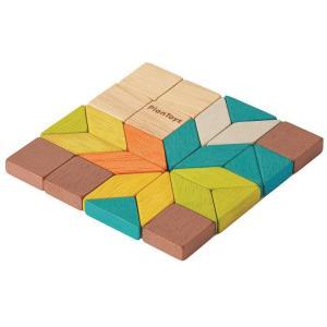 木のおもちゃ プラントイ PLANTOYS モザイク パズル プランミニ 幾何学形 26ピース|grooveplan