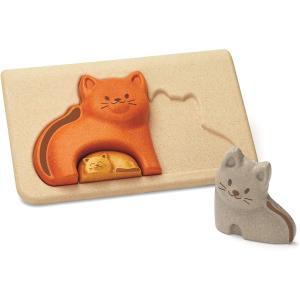 木のおもちゃ プラントイ ネコのパズル 知育玩具|grooveplan