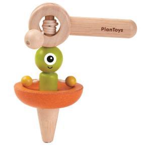 木のおもちゃ プラントイ PLANTOYS 宇宙船コマ 駒 人形が回転 紐を引っ張る 知育玩具|grooveplan