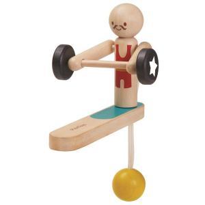 木のおもちゃ プラントイ PLANTOYS ウエイトリフティング アクロバット 振り子 人形|grooveplan