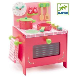 DJECO ジェコ 木のおもちゃ リリローズクッカーキッチン おままごとセット クッキング 調理台 ピンク かわいい 木製玩具|grooveplan