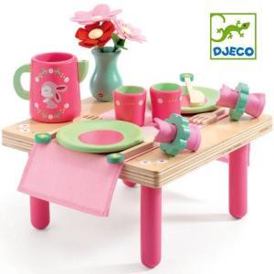 DJECO ジェコ 木のおもちゃ リリローズランチセット おままごとセット テーブル 食器 ピンク かわいい 木製玩具|grooveplan