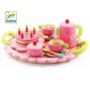 DJECO ジェコ 木のおもちゃ リリローズパーティー おままごとセット ケーキ ティーセット ピンク かわいい 木製玩具|grooveplan