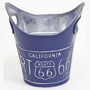ルート66 ティンプランター 4号 BLUE 青 ガーデニング 植木鉢 grooveplan