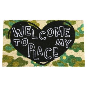 玄関マット屋外用 コイヤーマット ハート WELCOME TO MY PLACE カモフラ 緑 ココヤシ ウェルカム おしゃれ|grooveplan