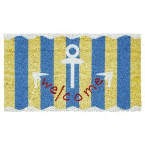 玄関マット屋外用 コイヤーマット いかり welcome マリン 海 ストライプ 青 ウェルカム|grooveplan