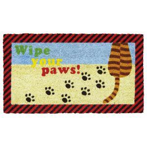 玄関マット屋外用 コイヤーマット 茶猫 足跡 Wipe your paws! 動物 しましま カラフル かわいい|grooveplan