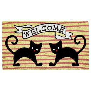 玄関マット屋外用 コイヤーマット 二匹の黒猫 WELCOME 動物 しましま ピンク かわいい ウェルカム|grooveplan