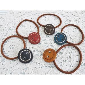 レザーヘアゴム ボタン 革製ヘアアクセサリー ファッション小物 おしゃれ 選べる5色|grooveplan