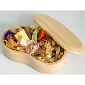 くりぬき弁当箱 ビーンズ 天然木 ランチボックス 木製 シンプル おべんとう箱|grooveplan