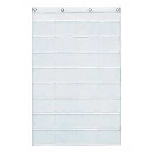 ウォールポケット 壁掛け収納  透明×透明 横型ポストカード 32ポケット クリアー ウォールラック 壁面収納 おしゃれ|grooveplan