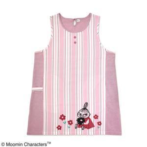 ムーミンエプロン リトルミイ マルチストライプ ピンク 大人用 作業着 保育士 キャラクター 可愛い おしゃれ|grooveplan