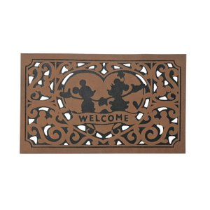 玄関マット (ハート) ブラウン ディズニー 泥落とし 茶 ガーデン ミッキー&ミニー|grooveplan