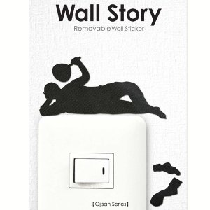 ウォールステッカー ごろ寝 おじさん ojisan Wall Story コンセント 壁紙インテリアシール 壁飾り インテリア雑貨 模様替えに|grooveplan