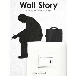 ウォールステッカー さぼり おじさん ojisan Wall Story コンセント 壁紙インテリアシール 壁飾り インテリア雑貨 模様替えに|grooveplan