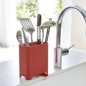 キッチンツールスタンド アクア レッド 赤 キッチン 分別 収納|grooveplan