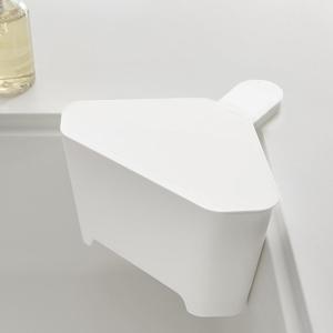 浮かせる フタ付き三角コーナー アクア ホワイト 白 キッチン ゴミ箱|grooveplan